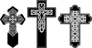 Celtic Pattern Crucifix Set Royalty Free Stock Images