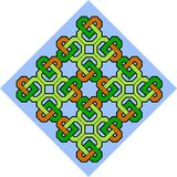 Celtic pattern illustration. A Celtic pattern illustration in orange, yellow, green and blue Stock Photo