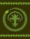 Celtic pattern with tree and snake. Green celtic pattern with stylized tree and snake Stock Image
