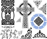 Celtic Patterns. An illustrated set of various Celtic patterns in abstract designs, isolated on white background stock illustration