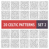 Celtic Patterns Set. Set of 20 black and white Celtic seamless patterns with samples in swatches Vector Illustration