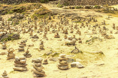 Celtic pile of round stones laid out in the form of a pyramid on Stock Photo