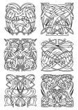Celtic prydnader för häger, för stork och för kran Arkivbild