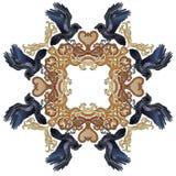 Celtic raven frame ornament. Vector illustration of Celtic raven frame ornament, textile pattern colorful Stock Images