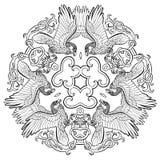 Celtic ravens ornament mandala Stock Photos