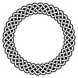 Celtic round frame, border pattern - vector. Irish, Celtic black pattern in circle isolated on white - retro royalty free illustration