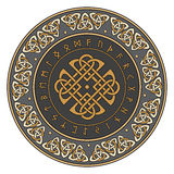 Celtic shield, decorated with a ancient European pattern and scandinavian runes Stock Image