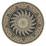 Celtic shield, decorated with a ancient European solar pattern Royalty Free Stock Photos