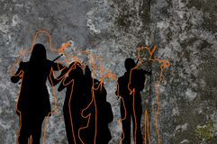 Celtic Silhouette. Silhouette and outline illustration of scottish celtic musicians Royalty Free Stock Images
