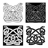 Celtic snakes knot ornaments in tribal style Stock Photo