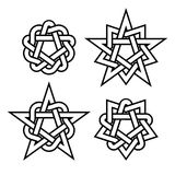 Celtic star knots or abstract geometry design elements  on white background. Vector. Oriental and celtic star knots or abstract geometry design elements  on Royalty Free Stock Photo