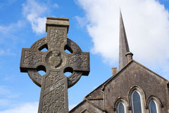 Celtic Stone cross. And Athenry Heritage Center royalty free stock photos