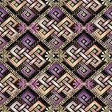 Celtic style abstract 3d greek seamless pattern. Ethnic geometric ornamental vector background. Wallpaper. Floral ornaments with vintage flowers, gold greek Royalty Free Stock Photography