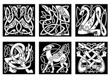 Celtic style animals on black. Mythical celtic animals heron ,dragon, wolves, deer, gryphon, storks on black background for tattoo, mascot or totem design Royalty Free Stock Photos