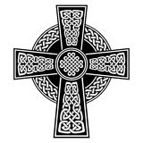 Celtic style Cross with  endless knots patterns in white and black with stroke elements inspired by Irish St Patrick`s Day Royalty Free Stock Photos