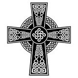 Celtic style Cross with  endless knots patterns in white and black with stroke elements and surrounding black ring with knots. Celtic style Cross with  endless Royalty Free Stock Image