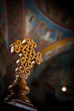 Celtic Style Cross. Cross Greek Orthodox Church Interior - Naxos stock image