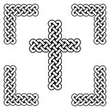 Celtic style endless curved  knot  cross symbols in white and black in knotted frame  inspired by Irish St Patrick`s Day, and Iris Royalty Free Stock Images