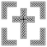 Celtic style endless   knot  cross symbols in white and black, with black filling between knots, in knotted frame Royalty Free Stock Photos