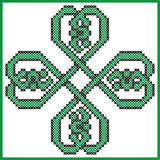 Celtic style endless knot pattern in clover shape with hearts elements in tile, in  black and green cross stitch  inspired by Iris Royalty Free Stock Photos