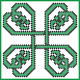 Celtic style endless knot pattern in square style clover shape with hearts elements in tile Royalty Free Stock Photo