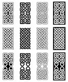 Celtic style endless knot rectangle symbols in white and black inspired by Irish St Patrick`s Day, and Irish and Scottish carving. Art Stock Image