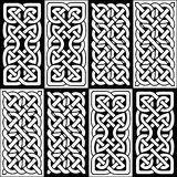 Celtic style endless knot rectangle symbols in white and black seamless tile inspired by Irish St Patrick`s Day, and Irish and Sco Royalty Free Stock Photo