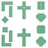 Celtic style endless knot symbols including border, line, heart, cross, curvy squares in  irish flag green on white background Stock Images
