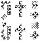 Celtic style endless knot symbols including border, line, heart, cross, curvy squares in white, with black filling between knots. Inspired by Irish St Patrick`s Royalty Free Stock Photos