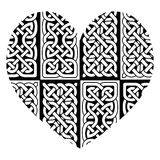 Celtic style heart with eternity  knot base patterns filling  in black and white   inspired by Irish St Patricks Day, and Irish Stock Image
