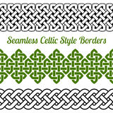3 Celtic style knot seamless borders, vector illustration Stock Photo