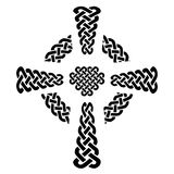 Celtic style knotted Cross with eternity knot patterns in white and black with surrounding rounded knot ring elements Stock Photo