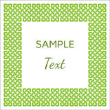 Celtic style knotted frame with room for your text, green on white, vector illustration Stock Image