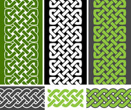 3 Celtic style knotted seamless borders and 3 braid seamless border variations, vector illustration. (green, white, gray colors Royalty Free Stock Photography