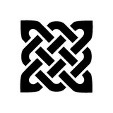 Celtic style square shape element based on eternity knot patterns in black on white background inspired by Irish St Patrick`s Day. And Irish and Scottish royalty free illustration