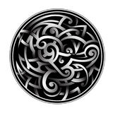 Celtic style tattoo in round shape. Celtic knot as circled tattoo shape with shades effect Stock Photos
