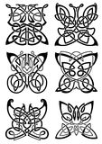 Celtic tattoos of black butterflies Stock Image