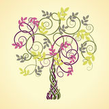 Celtic tree. Autumn decorative Celtic tree with colored leaves vector illustration