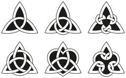 Celtic Triangle Knots. A variety of celtic knots used for decoration or tattoos. Six varieties of endless basket weave knots. These knots are most known for vector illustration