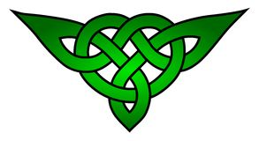 Celtic triquetra knot. Green celtic triquetra knot on the white background royalty free illustration