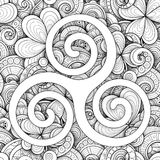 Celtic Triskele Symbol, Spiral Sign. Monochrome St Patrick`s Day Seamless Pattern with Clover Leaf Talisman, Abstract Coins and Swirl. Elegant Background Royalty Free Stock Images