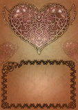 Celtic valentine. Celtic ornament framing and heart drawn in celtic style on ancient paper background Stock Illustration