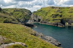 Tintagel Castle & Merlins Cave. Celtic Village at Rough Tor, Cornwall Stock Photos