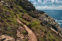 Cornish Coast at Botallack. Cornish Coastal Path At Botallack, Cornwall Stock Photos
