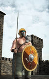 Celtic warrior and castle. 3D fantasy render illustration Royalty Free Stock Photography