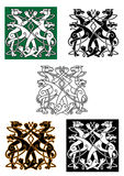 Celtic wolfs tied into knot ornament Royalty Free Stock Photos