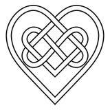 Celtyckiej kępki rune serc obszytej nieskończoności symbolu wektorowy znak wiecznie miłość, tatuażu logo serca wzór ilustracji