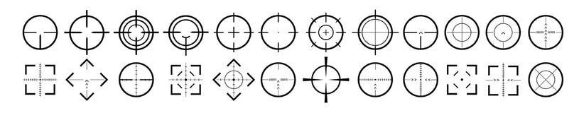 Celuje cel i celowanie bullseye znaków symbol Kreatywnie wektorowa ilustracja crosshairs ikona ustawia odosobnionego dalej ilustracji