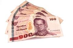 Cem bancos do baht, dinheiro tailandês Foto de Stock