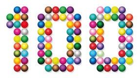 Cem bolas Dots Points Colors Number White ilustração stock